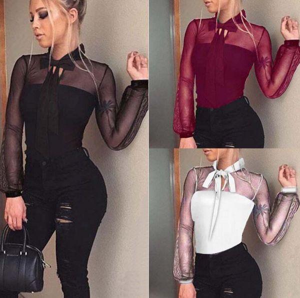 2018 fashion explosion models black bow bud silk yarn long sleeve one-piece perspective shirt free shipping