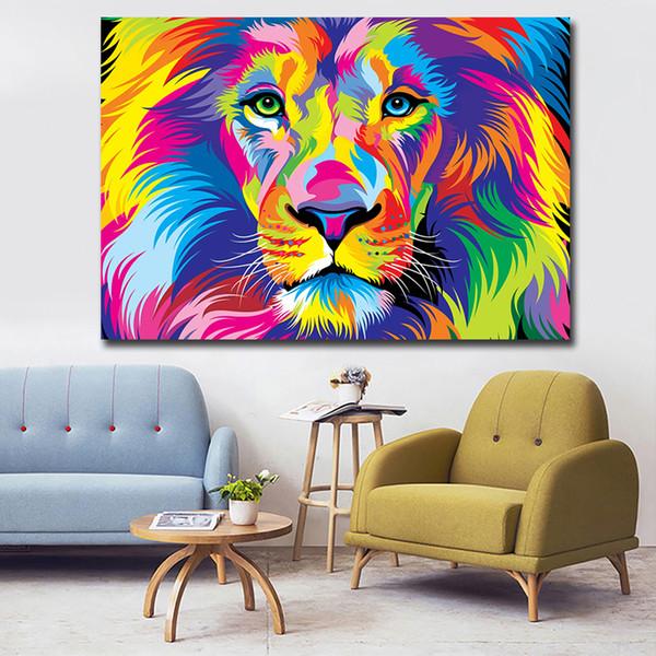 Acquista 1 Pz Large Size Astratto Colorato Hd Stampa Su Tela Lion