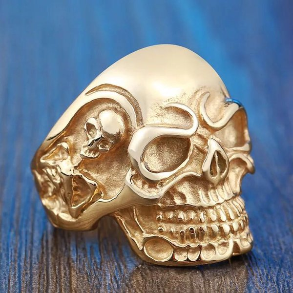 BIG HEAVY PUNK SILVER style biker skull stainless steel men.s ring cheap wholesale price for free shipping