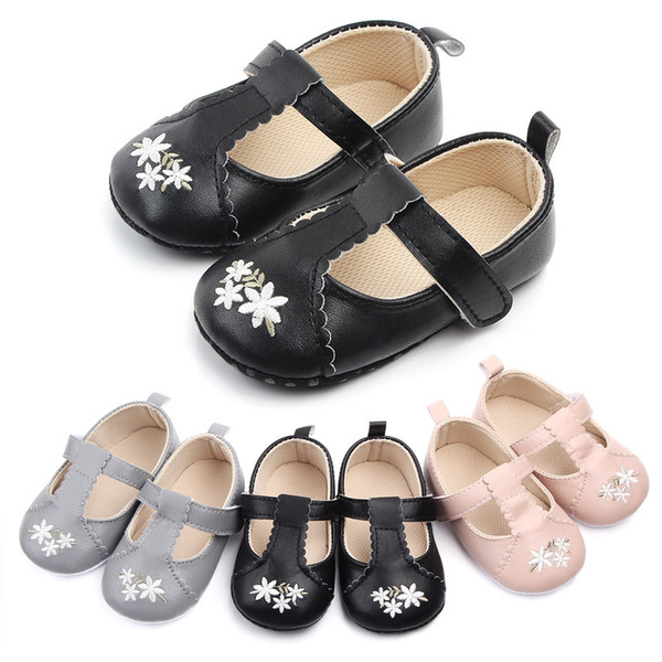 Infant Newborn Baby Girls PU Embroidered Flower Autumn First Walkers Sneakers Shoes Toddler Classic Casual Shoes