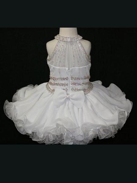 어린 소녀 홀터 넥 구슬 장식 조각 쉬폰 짧은 아기 선발 대회 드레스 지퍼 맞춤 제작으로 볼 가운 꽃의 소녀 드레스