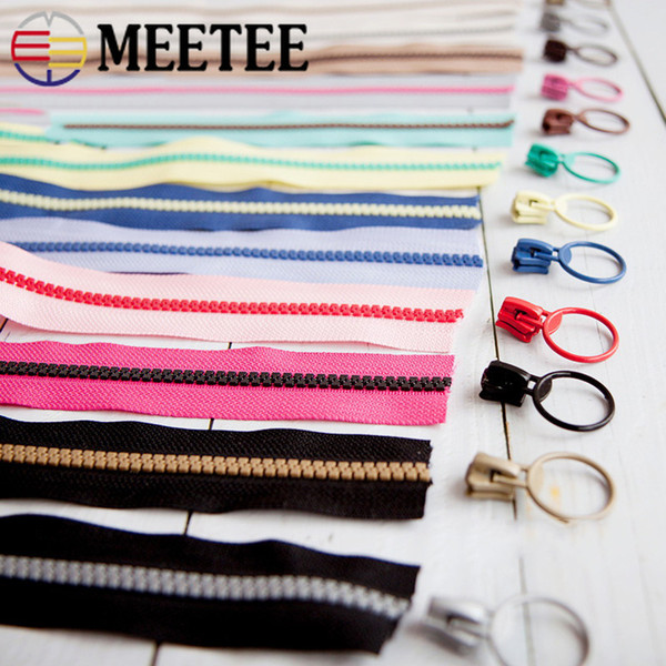 Meetee 5# Resin Coil Zippers Slider for DIY Bags Purse Wallet Jackets Coat Tent Tailor Sewing Tools Patchwork Accessories