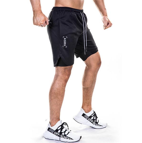 Pantaloncini da uomo da corsa ad asciugatura rapida Pantaloni da allenamento al ginocchio con coulisse Pantaloni da spiaggia da uomo Pantaloni corti con stampa lettere con tasche
