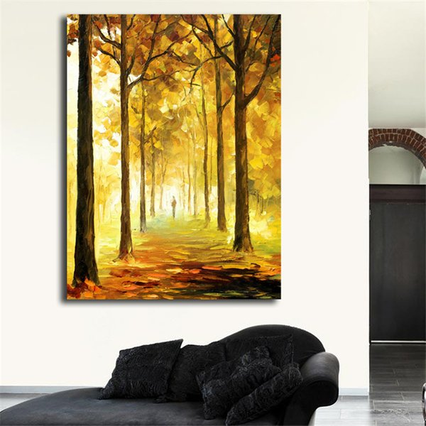 Yellow Mood Parks And Nature Wall Art Canvas Posters Prints Landscape Painting Salon Wall Pictures For Living Room Home Decor