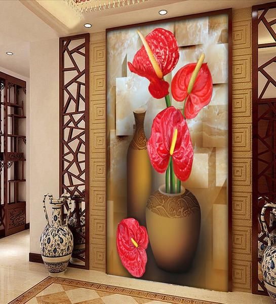 Peinture à l'huile européenne fleur rouge grande peinture murale papier peint porche allée corridor restaurant sans soudure fond papier peint