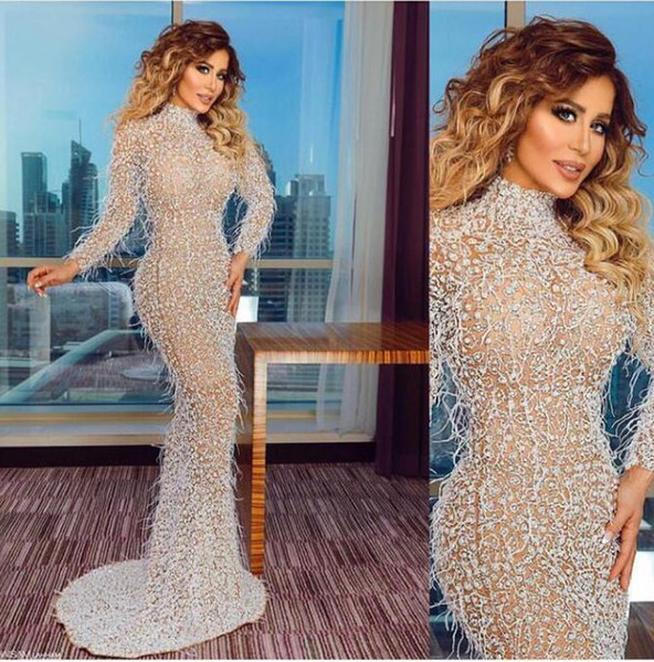Evening dress Yousef aljasmi Labourjoisie Zuhair murad Trympet High Collar Long Sleeve Tulle Feather Sequins Illusion Long Dress James_paul