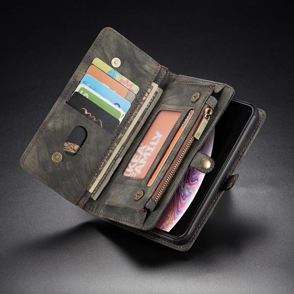 Etui portefeuille pour Huawei Mate 20 Pro P20 Lite Flip Portefeuille en cuir détachable sur Couverture Sac de Téléphone Coque P20 Pro Zipper Wallet Stand