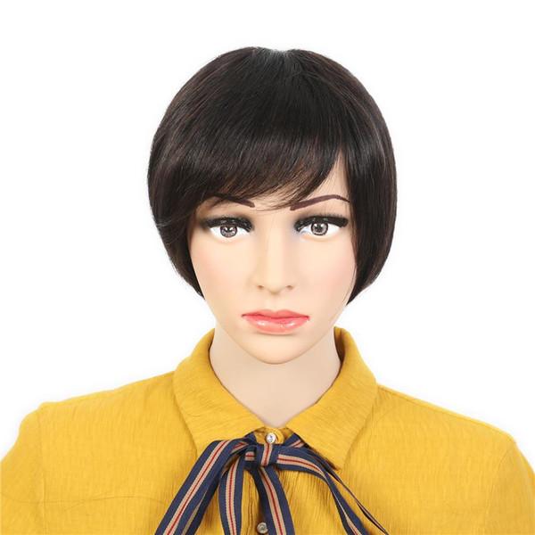 Short none Lace Human Hair Wigs With Bangs Virgin Indian Glueless Natural black Short Human Hair Wig For Black Women
