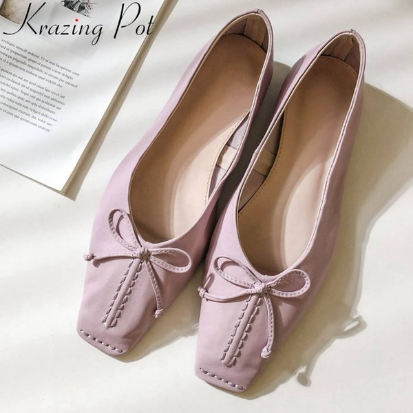 Krazing Pot large size bowtie luxury natural leather vintage square toe slip on loafers elegant pretty girls grandma shoes L70