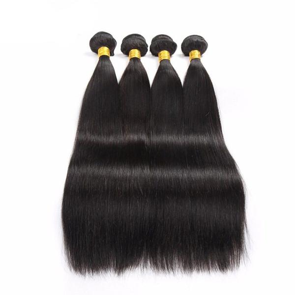 Best Selling Double Wefted Brazilian Hair Extensions Straight Human Hair Weft Peruvian Indian Brazilian Virgin Hair Weaves 4 Bundles/Lot