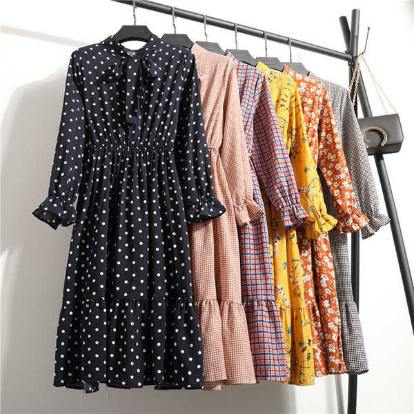 Sonbahar Şifon Gömlek Elbiseler Ofis Ekose Puantiyeli Eski Elbiseler Kadın Elbise 2019 Bahar Rahat Kırmızı Midi Çiçek Elbise Kadın Y190516