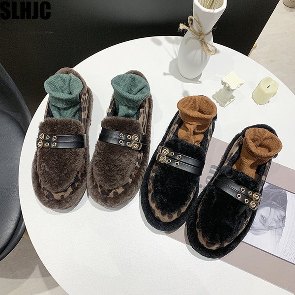 slhjc autumn winter shoes warm plush leopard flat heel round toe loafers women anti skid platform flats