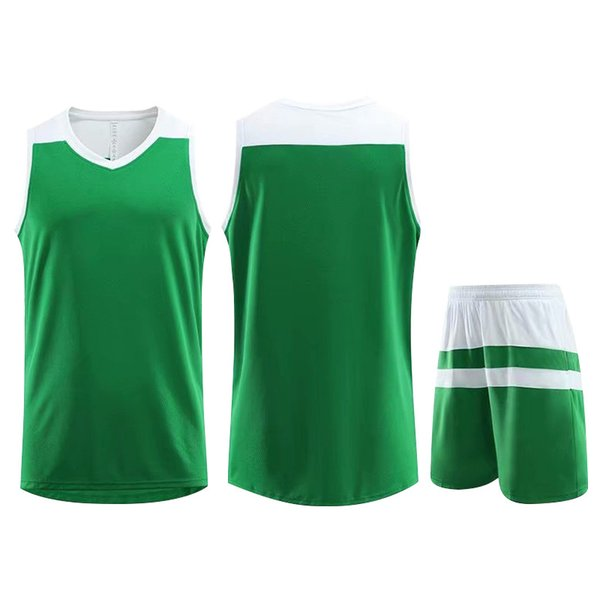 Best Selling Customized Training Sportswear Basketball Jersey Green Running Jogging Men Women Striped Trendy Clothing Suit Plus Size 5XL