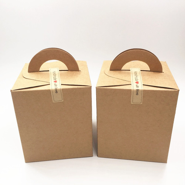 12 pcs 9.5*9.5*11 cm kraft paper DIY cake/candy/cookie packaging box carton portable gift paepr box with handle