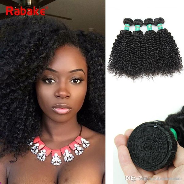 Rabake Malaysian Afro Kinky Curly Hair Weave Bundles 100% Natural Human Hair Extensions 3Pcs/lot Double Wefts Full Head for Black Women