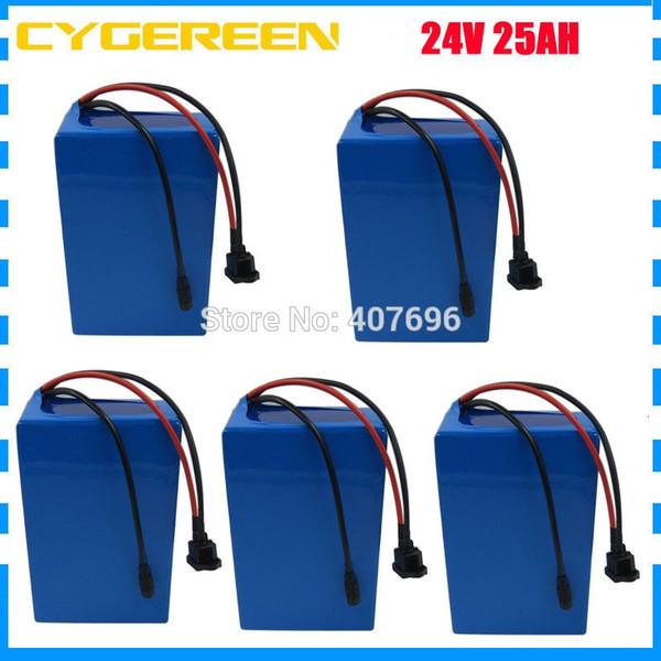 Commercio all'ingrosso 5 pz / lotto 24 V batteria al litio 24 V 25AH ebike batteria 24 Volt bicicletta scooter batteria 30A BMS 3A Caricatore