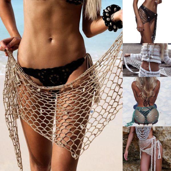 2018 Summer Womens Girls Crochet Bikini Cover Up With Shell Beach Sarong Wrap Skirt Scarf