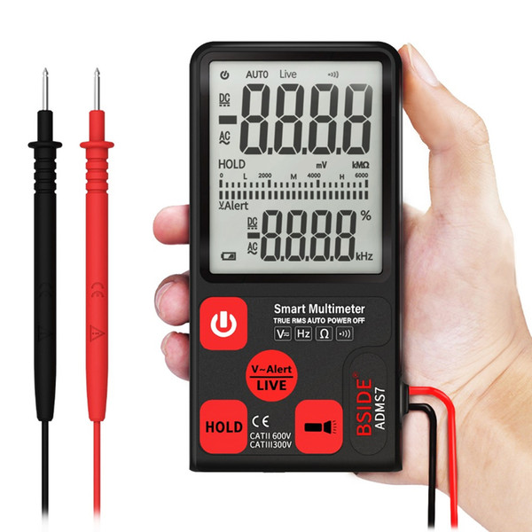 BSIDE ADMS7 Smart Multimeter True RMS Digital Multimeter Measuring AC/DC Voltage Resistance Frequency with LCD Display