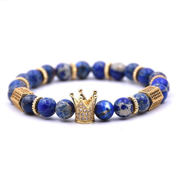 Corona encanto pulsera Pulseras de cuentas de piedra natural Diseñador de lujo Joyería Mujeres Hombres brazaletes para mujer para hombre brazalete accesorios de moda