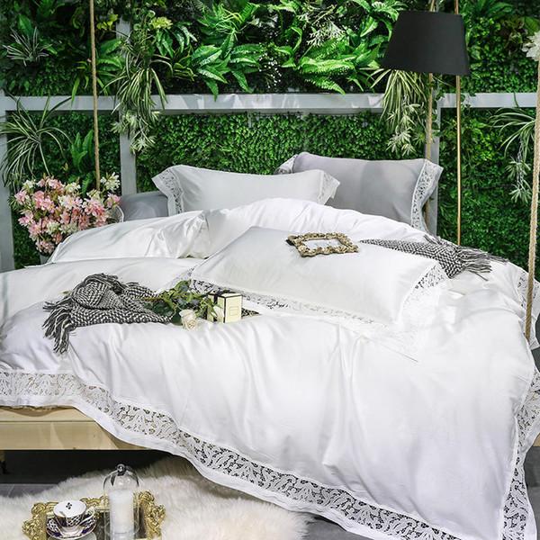 600TC Egyptian Cotton White Grey Bedding Set Queen King size Bed set Bed sheet Bedlinen Duvet cover parrure de lit ropa de cama