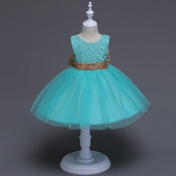 hot sale new baby girl sequin lace dress children girls evening dress girl big bow dresses kids flower girl skirt clothing Girl's Dresses