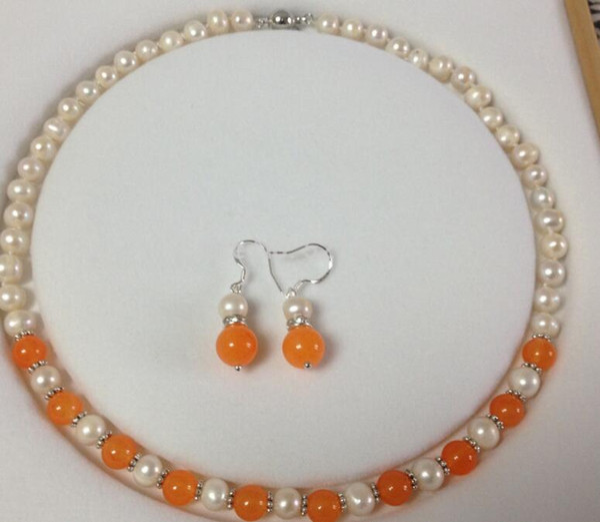 "jewelryWholesale JWEW6553 7-8MM White Akoya Cultured Pearl/Orange Jade necklace earrings set 18""No"