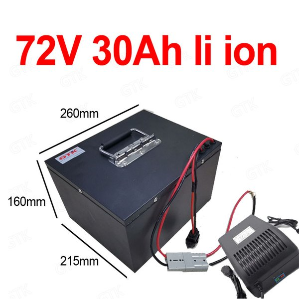 gtk li ion 72v 30ah lithium ion battery with bms for 72v 3000w 5000w motor electric bike vehicle tricycle scooter + 5a charger