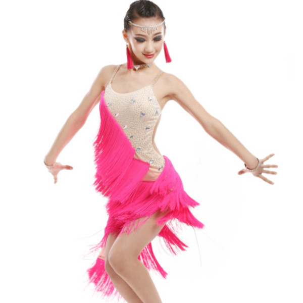New Children's Latin Dance Dress Tassel Sequin Summer Girls Dance Costume White Competition Performance Clothing Training Suit