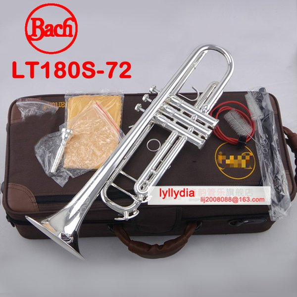 trompete bach Professional trumpet LT180S-72 Falt Silver Plated trompeta Top Musical Instruments Brass Bugle mouthpiece case Bb