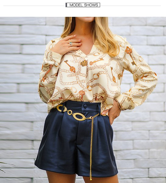 In Stock Chic Brief Irregular Chain Print V-neck Buttonless Women Blouse Shirt Long Sleeve Free shipping