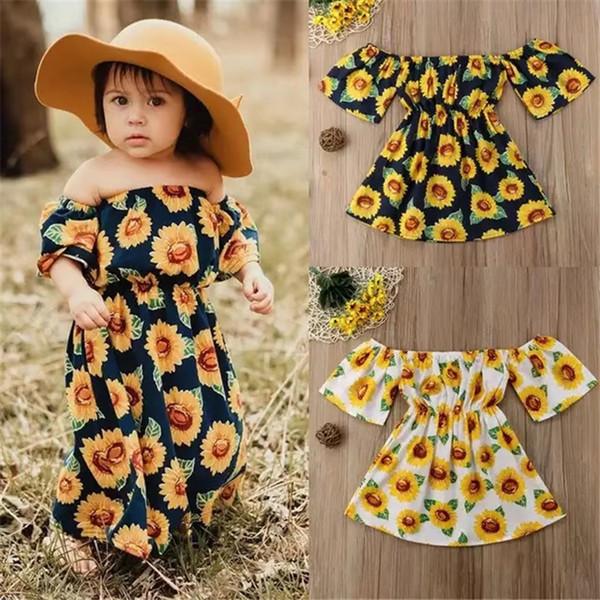 Vestito estivo ragazza Girasole stampato sulla spalla Vestito bohemien sulla spiaggia Little Girls Abbigliamento senape giallo Baby Robe Kid FJ469