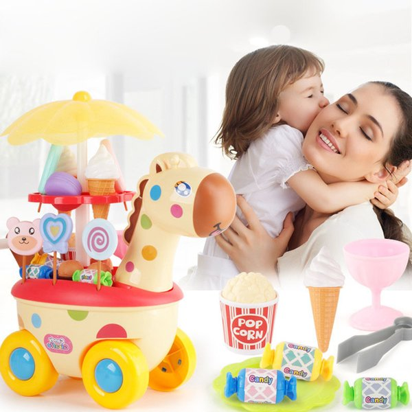 Children's Play House Deer Candy Car Male Girl Ice Cream Kitchen Toy Light Music Trolley Shopping Cart Toy Gumball Machine