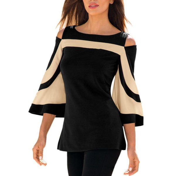 Women Cold Shoulder Lantern Sleeves Sweatshirt Pullover Patchwork Stripped Tops Blouse Shirt Off Shoulder Sexy Blouse Shirt