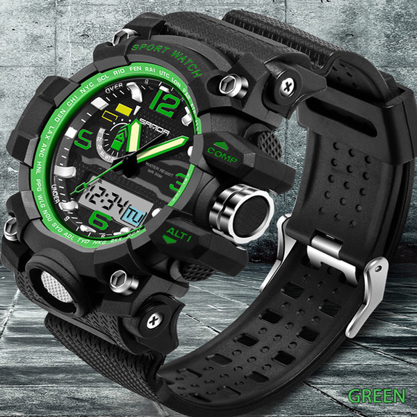 New Men Sport Watch SANDA Top Luxury New Brand Digital Watch S- Hodinky Men Analog Quartz Relogio Masculino