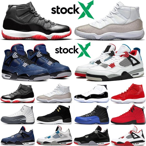 2019 air jordan retro bred 11s stock x men women basketball shoes 4s 12s what the jumpman athletic mens trainers sports sneakers, White;red