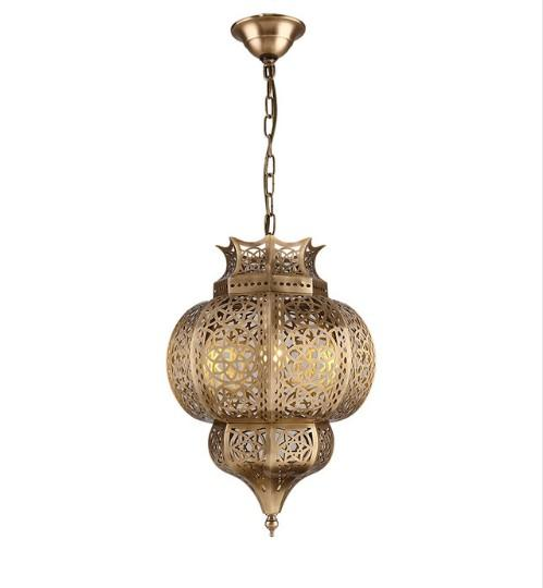 European and American style chandelier bronze Lamp Retro creative lamp hollow restaurant bar table hollow carved lanterns LLFA