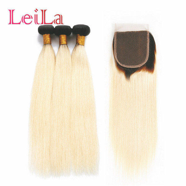 Fasci di capelli lisci brasiliani 1B 613 Ombre Biondi 3/4 fasci con chiusura Fasci di capelli umani Remy Tessuto con chiusura