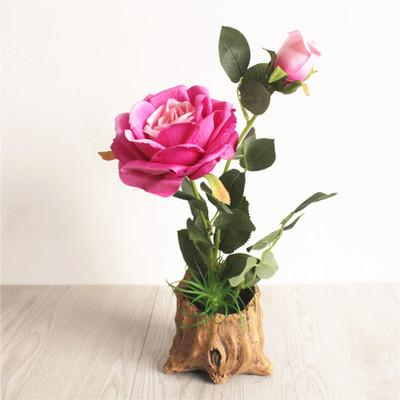 2019 blume rose bonsai kreative verzierungen mode haushaltsgegenstände künstliche seidenblume simulation pflanzen blume mit vase