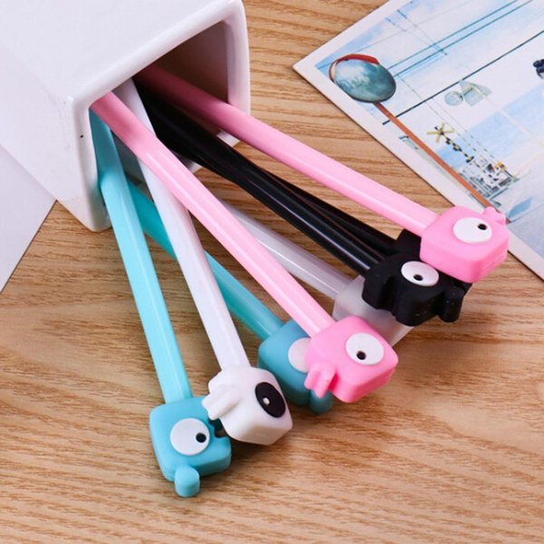 Cute Lovers 0.38mm Needle Tip Ball Point Yes Pen Random color 18cm/7.1inch Gel Ink Pen Black