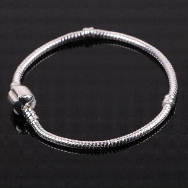 dodocharms Fashion Charm Bracelet Silver Snake Chain Clip Clasp Bead Fit Women Bead Charms Bracelet DIY European Jewelry