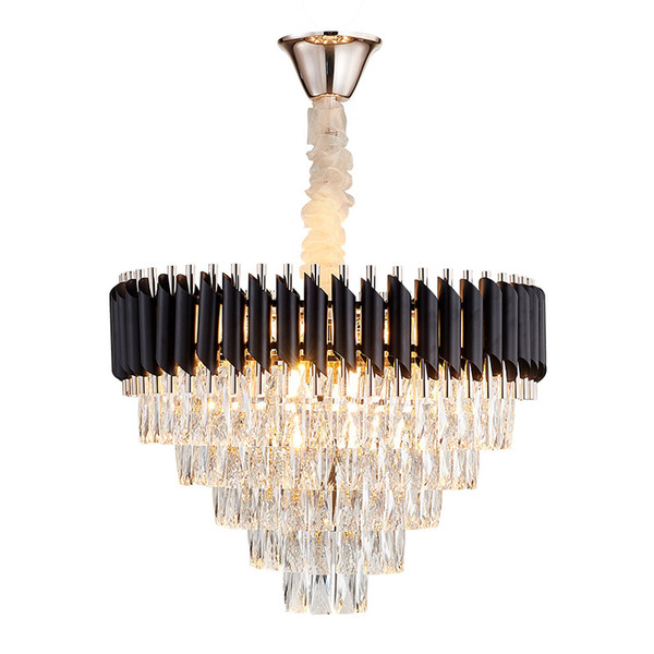 New Modern Luxury Living Room Crystal Chandelier High Quality Black Cristal Lustre Hanging LED Crystals Lamp