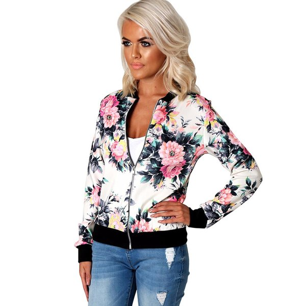 Female Fashion Style Women Ladies Long Sleeve Biker Short Coat Jacket Floral Basic Printed Casual Zip Top Outerwear