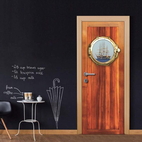 DIY Door Sticker Cabin Wall Sticker Decal Art Decor Vinyl Door Poster Removable Mural Door Wallpaper Kitchen accessories
