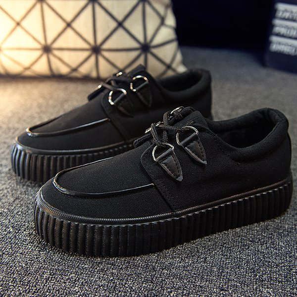 Platform Creepers Shoes Women Lace-up Canvas Casual White Shoes Ladies Shallow Shoes Round Toe Flats