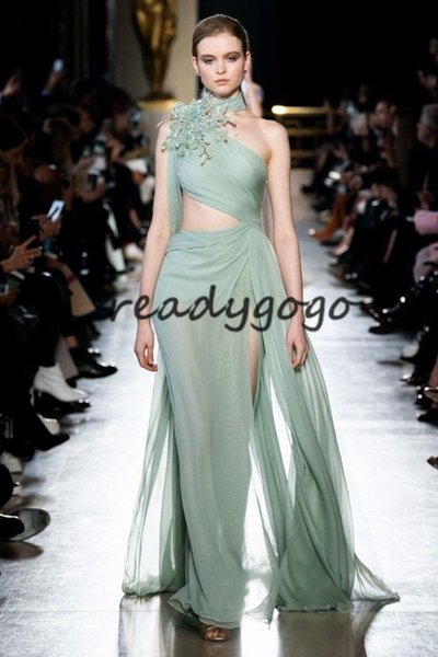 Sage Mint Split Prom Formal Dresses with Gold Lace Floral 2019 High Neck Elie Saab Flowy Indian Celebrity Evening Gown with Ribbon