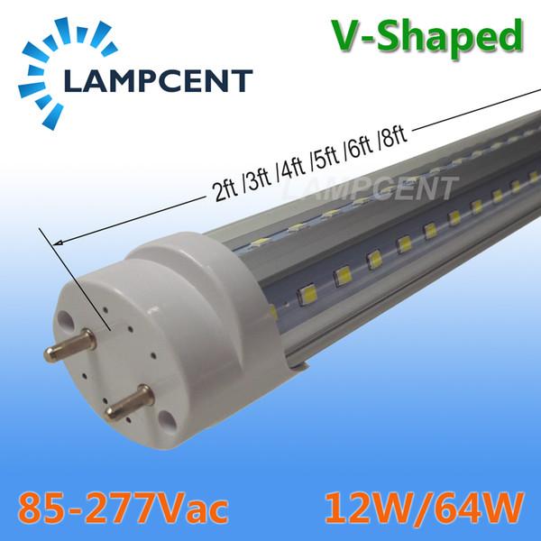 T8 V Forma LED Tubo Lâmpada 2FT 3FT 4FT 5FT 6FT G13 Bi-Pin com Dual Row Chips Lâmpada LED Shop Luminária Com Tampa Transparente 2-100 Lâmpadas / caixa