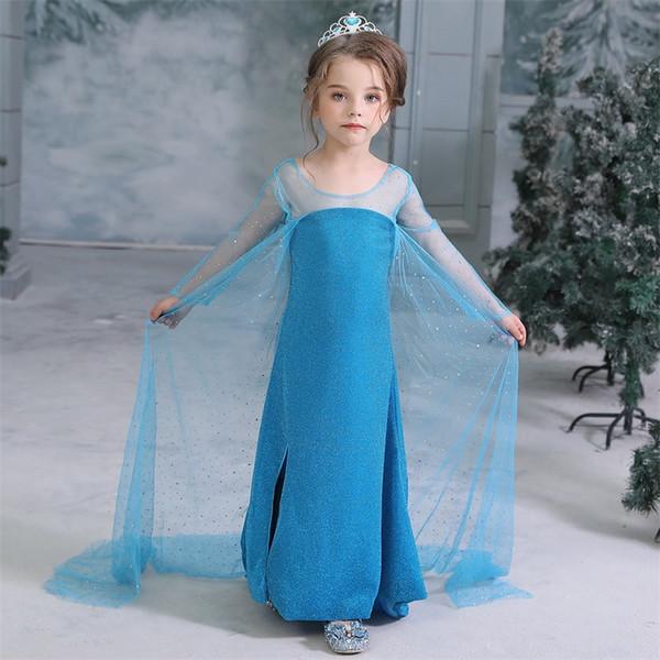 2019 Новый фильм Снежная королева II платье Дети принцессы партии Cosplay костюма одеваются Фантазия Девочки Платья с длинным мысом