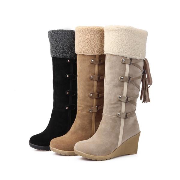 retour lacets troupeau rivets en coin en peluche bottes d'hiver chaudes bottes d'hiver de fourrure femme femmes neige brune chaussures fille neige