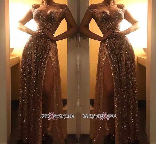 New Sparkling Off Shoulder Gold Sequined Prom Dresses 2019 Sexy Front Split Floor Length Evening Party Dresses Party Wear Cheap BC1409