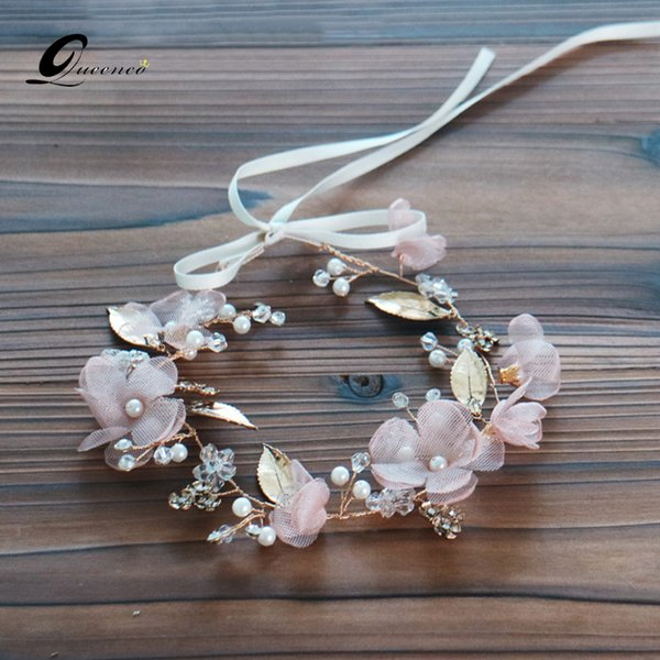 jewelry Pink Flower Tiara Bridal Headband Tiaras Wedding Accessories Pearls Hairband Women Leaves Headpiece Bridal Hair Jewelry